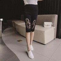 Duży rozmiar lady legginsy spodnie dla kobiet lady elastyczny pas spodnie letnie XL stretch koronka hollow kobiety pant women 85-AA172