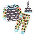 Sistema de la Ropa 100% del Algodón del niño infantil ropa de bebé establece Elefante conjunto de Pijama