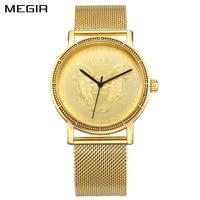 MEGIR Official Men Quartz Watches Mens Full Steel Clock Gold Watch Casual Wrist Watch Waterproof Relogio