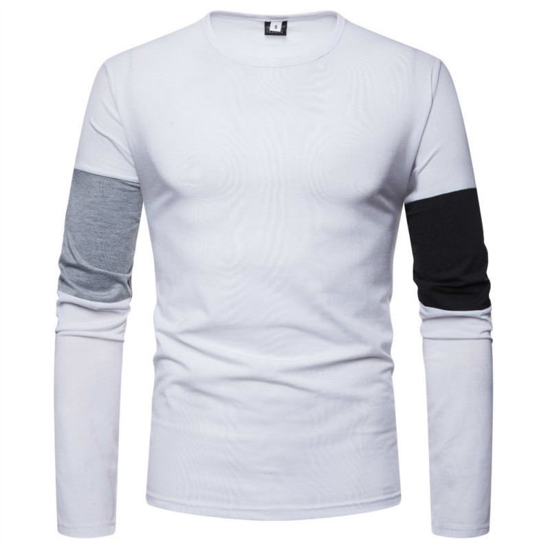 New autumn winter clothing New men's stitching solid color round neck hoodie men casual long sleeve male tops 2 colour