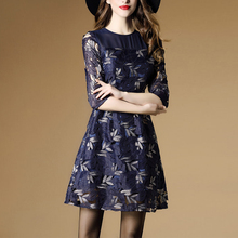 New Spring Women dress Three Quarter Sleeve Slim Hollow Out Elegant Embroidery Dresses Dark Blue 8622