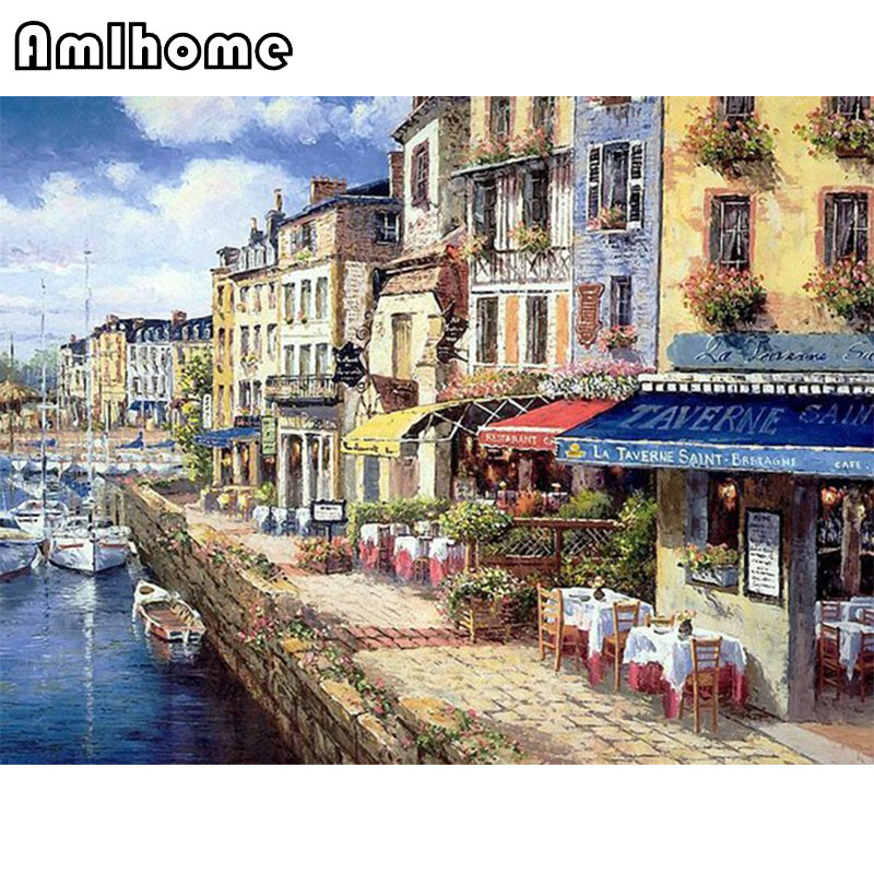 AMLHOME NEW 5D DIY Diamond Painting Cross Stitch Crystal Diamond Embroidery River Town Painting Full Diamond Decoration CC1579