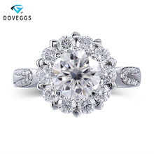 DovEggs 14K 585 White Gold Center 1ct 6.5mm F Color Moissanite Diamond Engagement Rings For Women Halo Gold Ring with Accents недорого