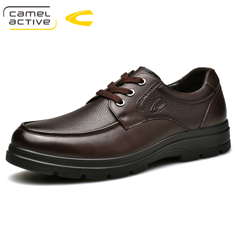 Camel Active New Style Mens Oxfords Genuine Leather Brown Blue Brogue Shoes Men Formal Shoes Lace-Up Business Men's Shoes все цены