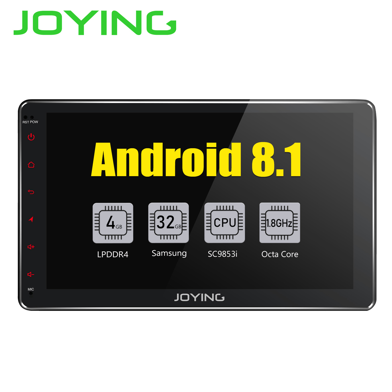 JOYING Android 8.1 2 din Autoradio Stereo Multimedia Player GPS Radio 10.1'' IPS HD Screen Head Unit with DSP Octa Core 4GB RAM