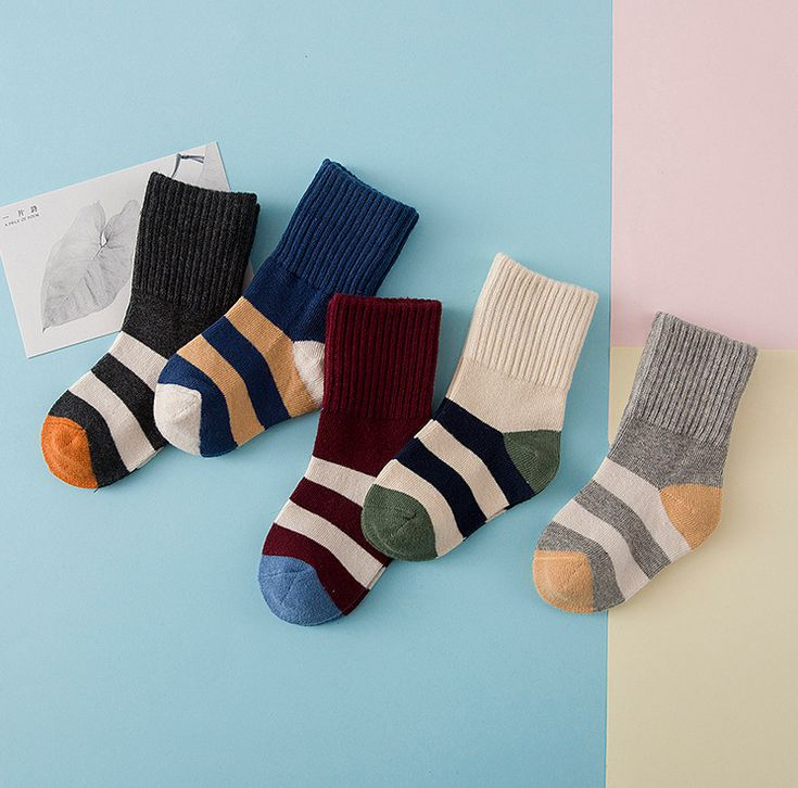 5pairs lot Baby boys girls fashion striped socks Boys girls cotton socks Kids autumn winter socks
