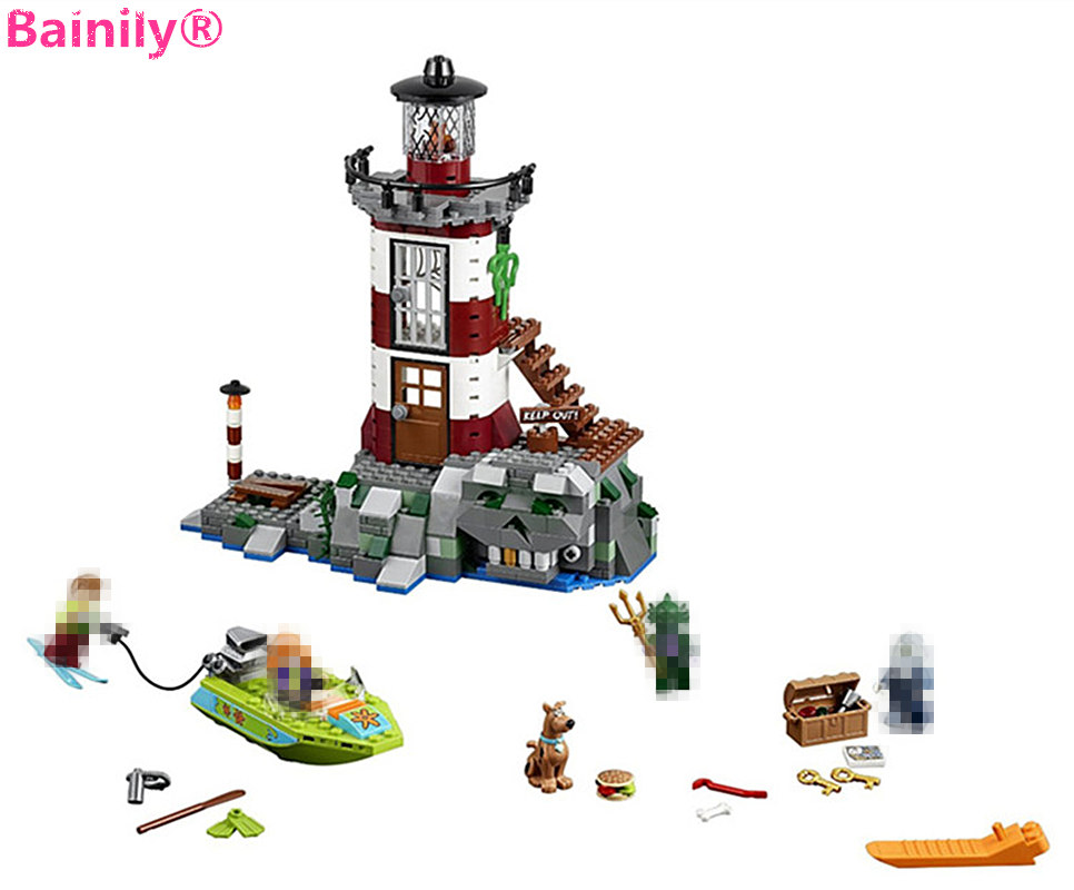 [Bainily]437pcs Haunted Lighthouse Scooby Doo Dog Model Bricks 3D DIY Building Blocks Kids Children Kids Toys Gifts Set ynynoo 305pcs 10430 the mystery machine scooby doo fred shaggy zombie zeke toys building blocks christmas gift sa562