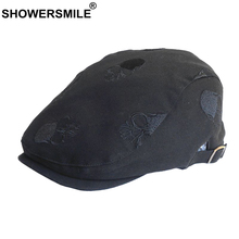 SHOWERSMILE Men Beret Summer Black Cotton Flat Cap Skull Embroidery Ivy Duckbill Adjustable Retro High Quality Male Hat