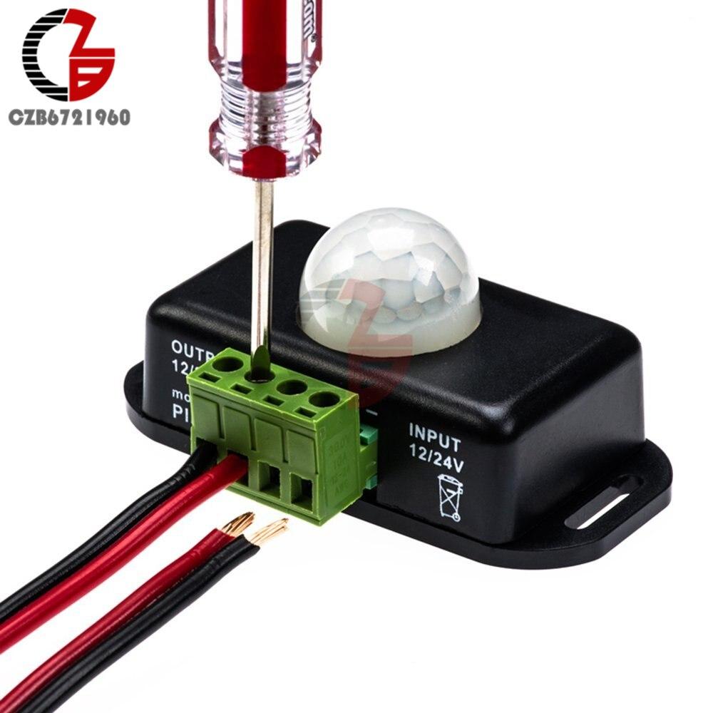 DC 12V 24V 8A Automatic Adjustable PIR Motion Sensor Switch IR Infrared Detector Light Switch Module for LED Strip Light Lamp