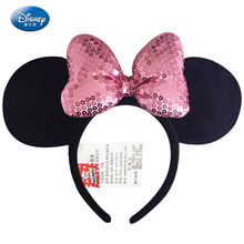 Disney Genuine Toys Minnie Mouse Headdress Plush Mickey Head Ears Girls Hair Bands Princess Hoop Kids birthday Gift