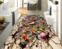 Beibehang Papel De Parede Fashion High End Indoor Wallpaper Lotus Koi Creek Stone 3D Bathroom Floor