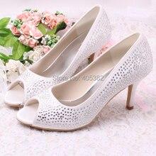 Wedopus Women Rhinestones Crystal Heels Wedding Shoes Open Toe Size 34~42