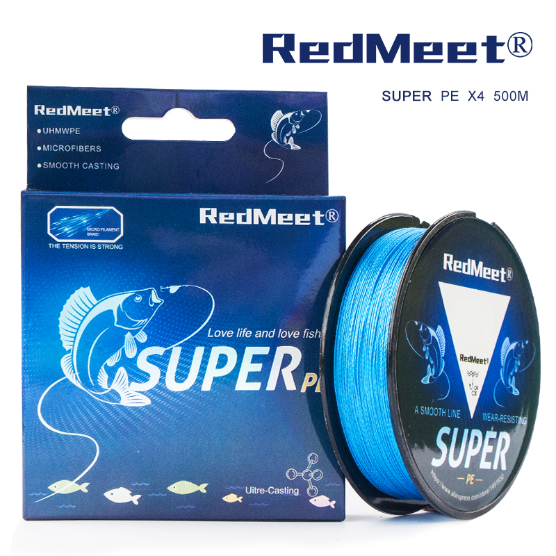RedMeet 500M super PE Line Yellow/Grey/Green/Blue/Multicolor Braided Fishing Line Multifilament 4 Threads Fishing Line