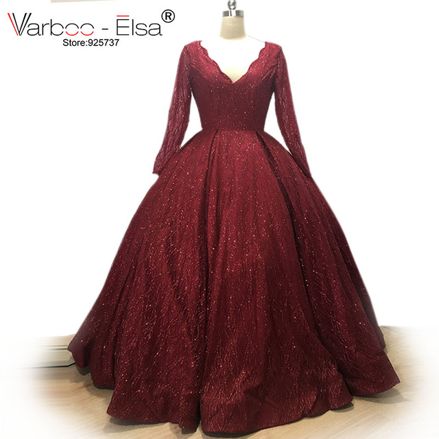 VARBOO_ELSA Elegant Ball Gown red Dubai Arab Evening Dress 2018 Shiny Sequined Long Prom Dress Robe De Soiree 2018 arabic dress