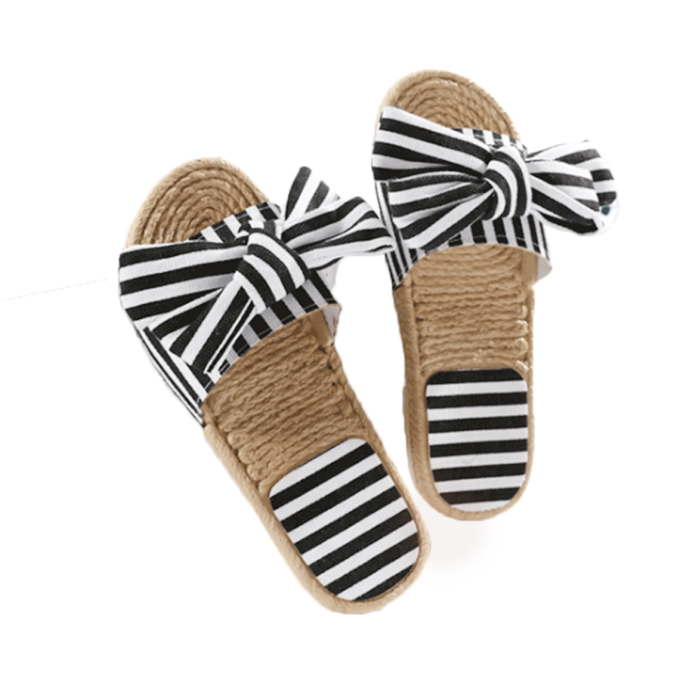 20a76bfa74441 2018 Ladies Slippers New Design Canvas Big Bow Tie Sandal Stripe Bow knot  Shoes Flipflops Woman Summer Beach Sweet Sandals -in Slippers from Shoes on  ...