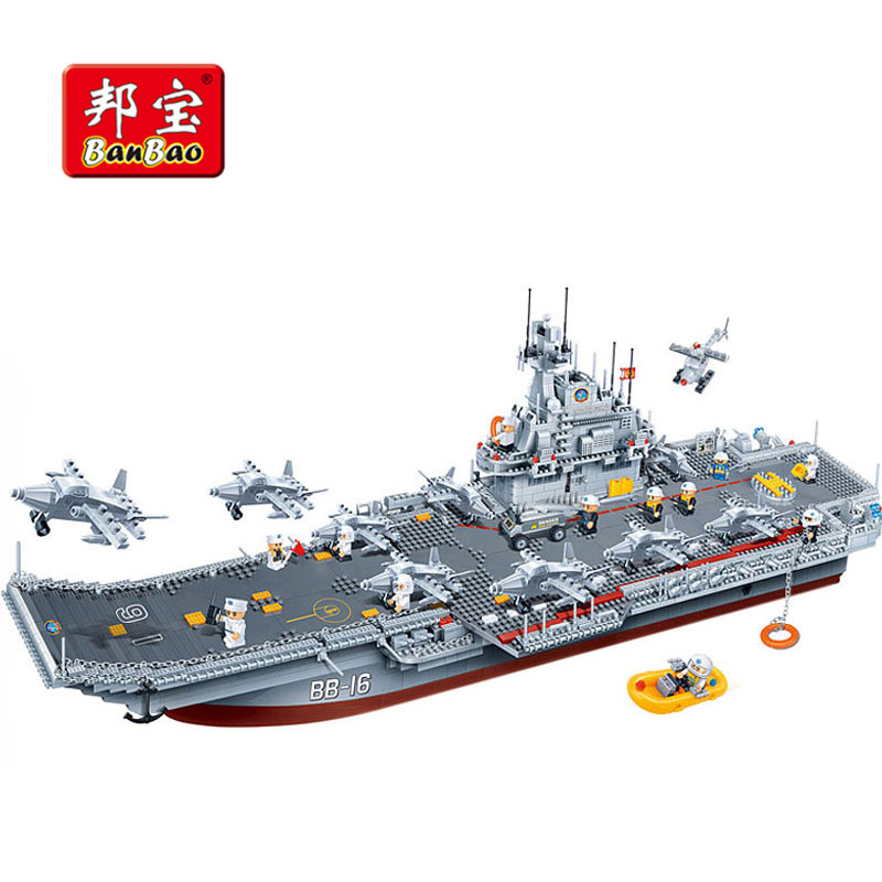 все цены на BanBao 8419 Military Army Carrier Aircraft Building Blocks Compatible With Legoe Educational Bricks Boy Kids Children Toy Model