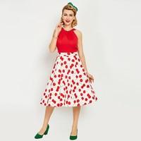1950s Style Summer Vintage Dress Sleeveless Tank O Neck Cherry Print Red Women Party Dress 2017