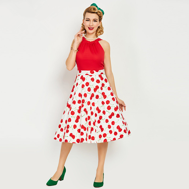 67e996d775c6d Two Cakes On A Plate 1950s Dresses Red Women: 1950s Style Summer Vintage  Dress Sleeveless Tank O Neck