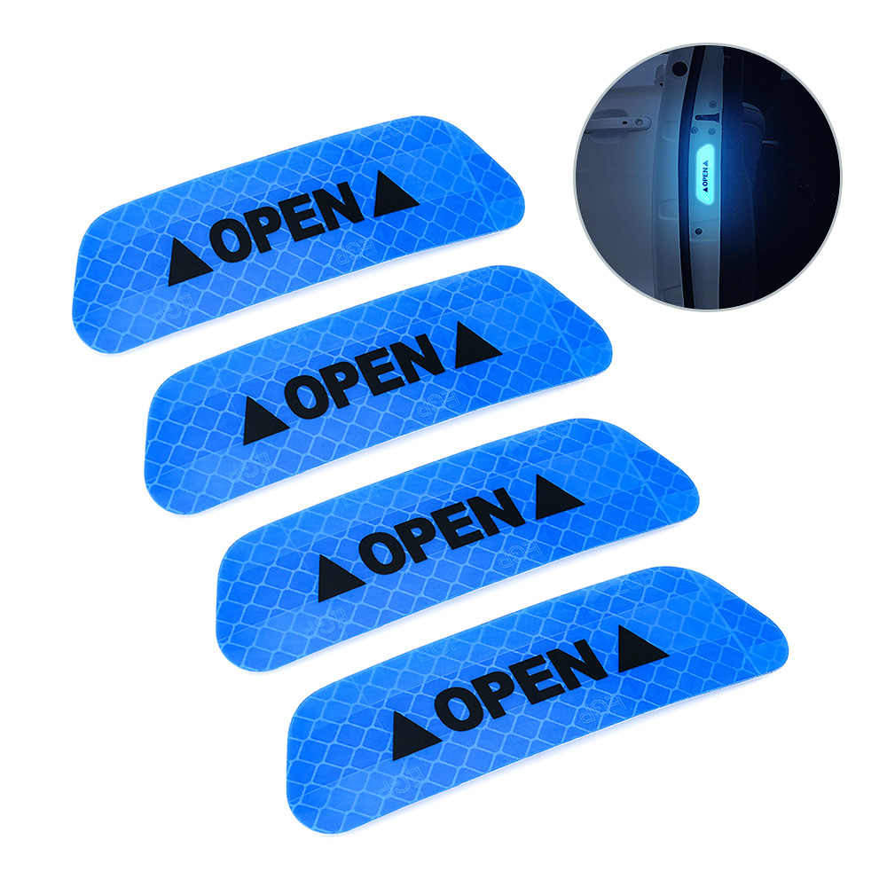 4PCS Car OPEN Reflective Tape Warning Mark Reflective Open Notice Bicycle Accessories Exterior Stickers Car Door
