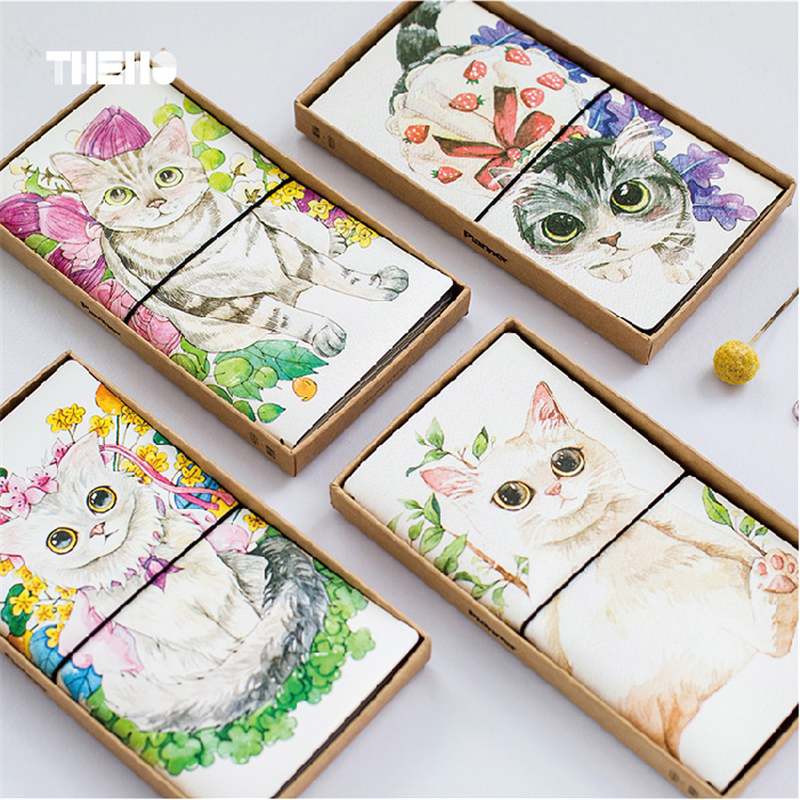 где купить  1 pc PU Leather Cover Planner Notebook Cat Travel Journal Diary Book Exercise Composition Binding Note Notepad Gift Freeshipping  по лучшей цене