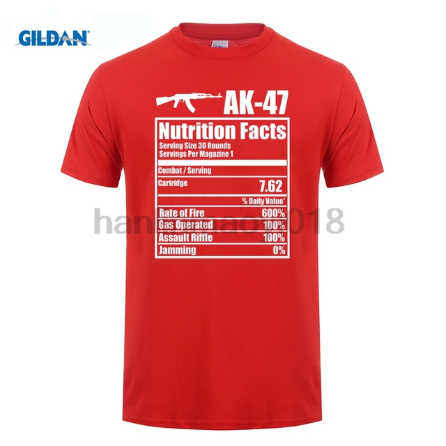 a4f45efa GILDAN 2018 AK 47 Nutrition Facts Funny Gun T Shirt-in T-Shirts from ...