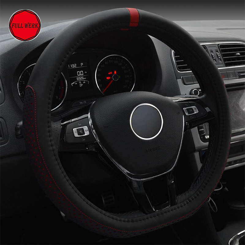 1pc D Shape Steering Cover 38 cm Micro Fiber Leather Car Steering Wheel Cover Protector Guard Wrap Car Interior Accessories