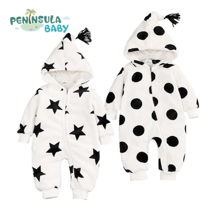 Newborn Boys Girls Clothes Dot Star Baby Rompers Winter Coral Velvet Hooded Long Sleeve Zipper Kids Toddler Infant Jumpsuits cotton baby rompers set newborn clothes baby clothing boys girls cartoon jumpsuits long sleeve overalls coveralls autumn winter