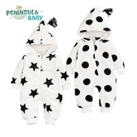 Newborn Boys Girls Clothes Dot Star Baby Rompers Winter Coral Velvet Hooded Long Sleeve Zipper Kids