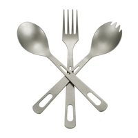 3PCS Titanium Dinnerware Set Cutlery Dinner Fork Spoon Spork Tableware Home Camping Picnic Hiking Travel Cutlery Set