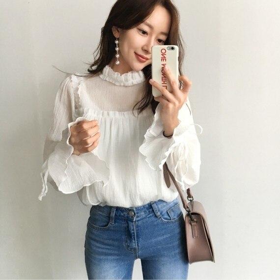 2017 Autumn Women   Shirts   Flare Sleeve / Elegant Black Fungus And Fold   Blouse     Shirt   White 8001