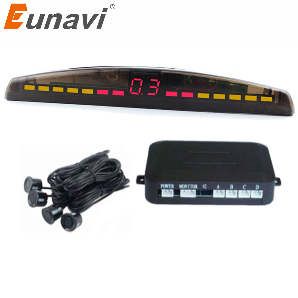 Eunavi Car LED Parking Sensor Kit 4 Sensors 22mm Backlight Display Reverse Backup Radar Monitor System 12V viecar car led parking sensor kit 8 sensors 22mm backlight display reverse backup radar monitor system 12v