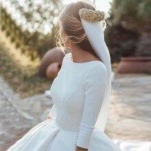 Vestido de baile simples cetim crepe vestidos de casamento modestos com 3/4 mangas o pescoço victorian vintage vestidos de noiva couture feito sob encomenda