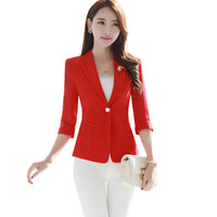 SEYAM Women Red Blazer 2017 3 4 Sleeve Single Button 3XL Plus Size Femme Notched Slim