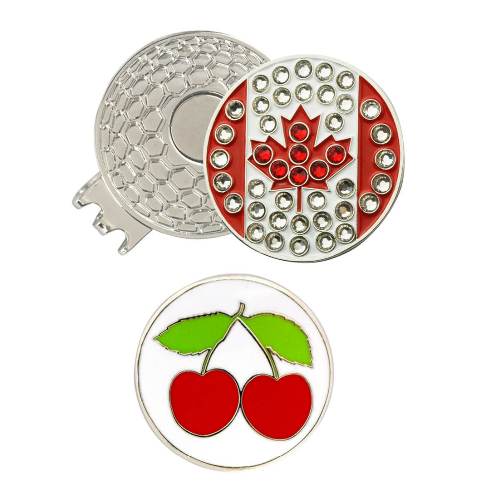 PINMEI Golf Ball Mark Hat Clip Sets 1pc Crystal Embossied Canadian Flags Golf Marker & 1pcs Cherry Marker&1pc Golf Cap Clip Sets