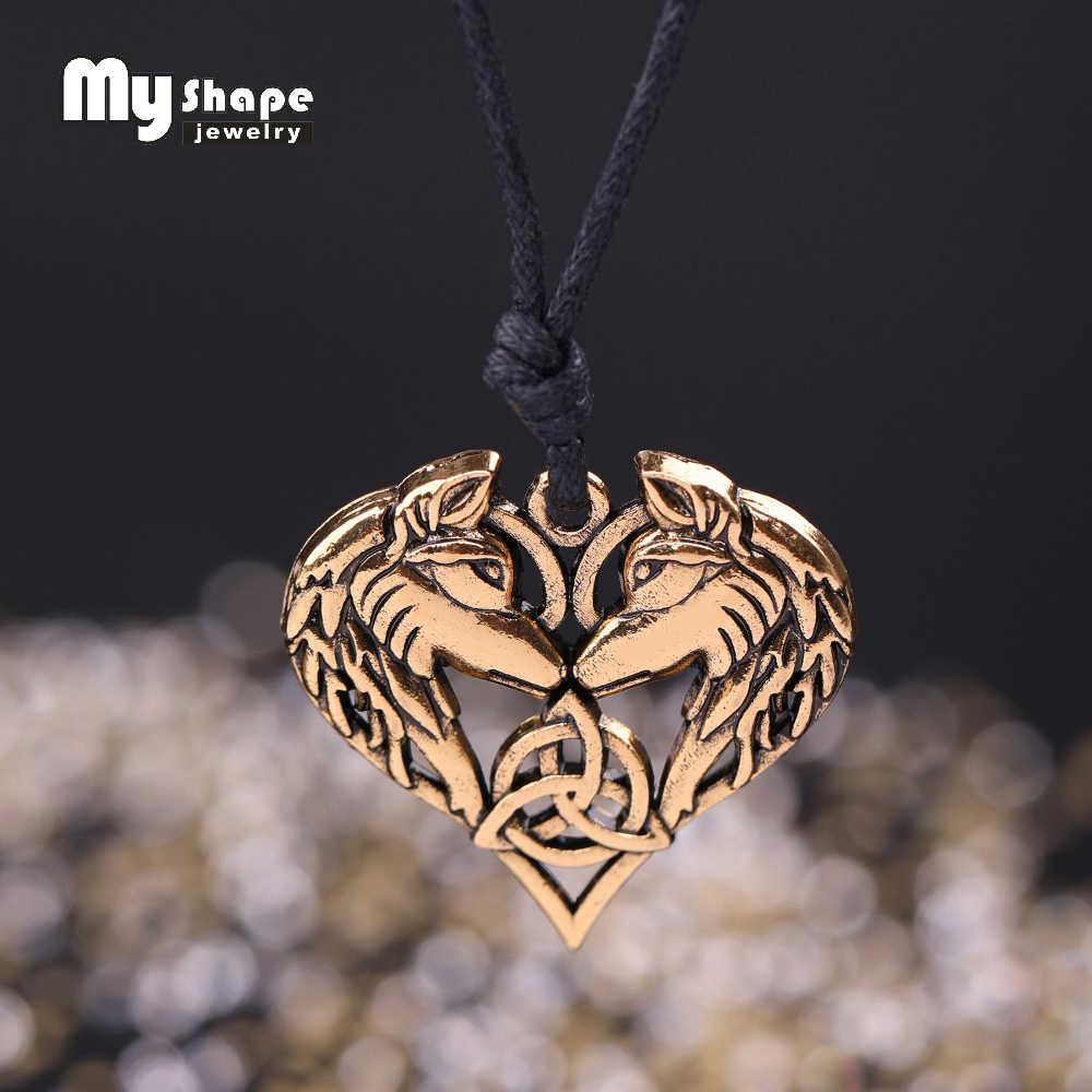 My shape Celtics Spirit Wolf Pendant Necklace Couple Heart Necklaces Love gift Norse Vikings Wolf Head Original Animal Jewelry