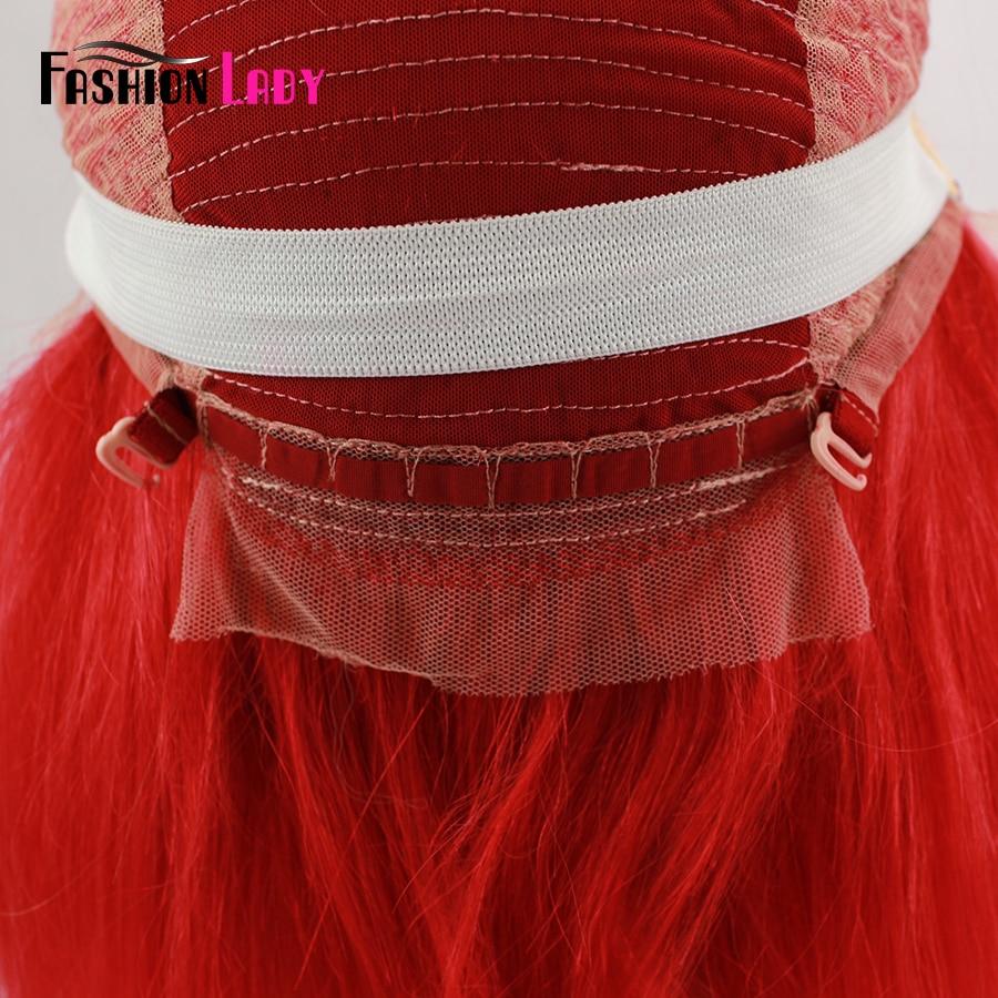 Парики из натуральных волос на кружевной основе, цвет красный, парик из натуральных волос 13x6 - 5