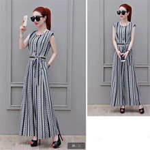 181793e53113 Fashion jumpsuits for women 2018 NEW printing chiffon Summer clothes for  women stripe Tall waist Wide
