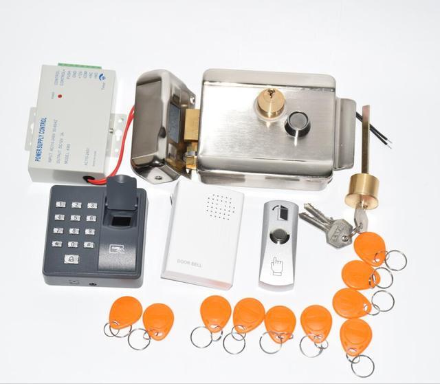 Дверной замок, система контроля доступа, Электрический дверной замок с блоком питания, считыватель отпечатков пальцев, кнопка выхода, 10 ярлыков