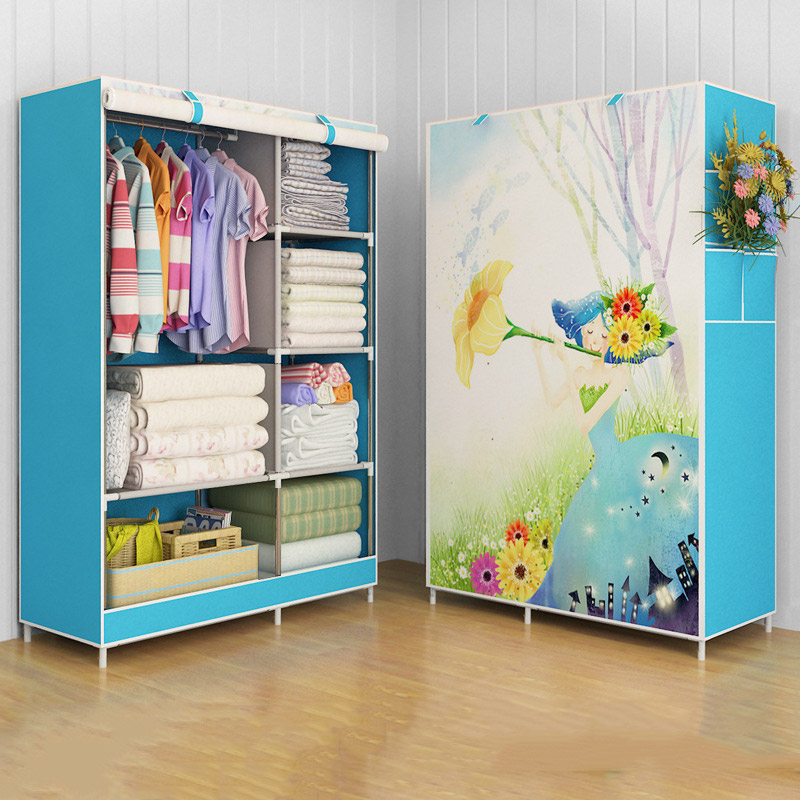 Image 4 - GIANTEX Cloth Wardrobe For clothes Fabric Folding Portable Closet Storage Cabinet Bedroom Home Furniture-in Wardrobes from Furniture