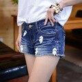 Mediados de Cintura de Pantalones Cortos de Las Mujeres Denim Shorts Vaqueros de Las Mujeres Pantalones Cortos de Verano 2016 Más El Tamaño de Las Mujeres Corto Estilo Coreano Femenino de Verano nueva