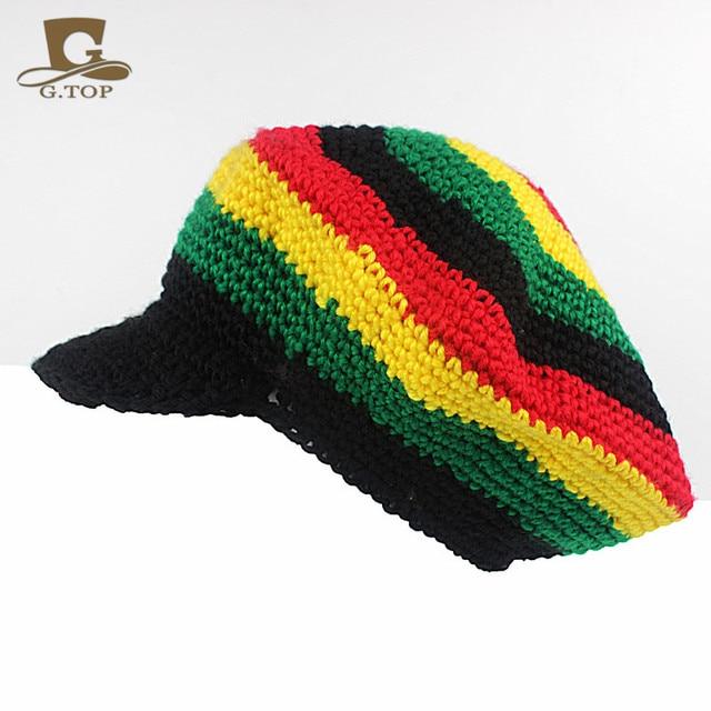 Handmade Crochet Visor Rasta Reggae Tam Beanie Beret Cap Hat Bob