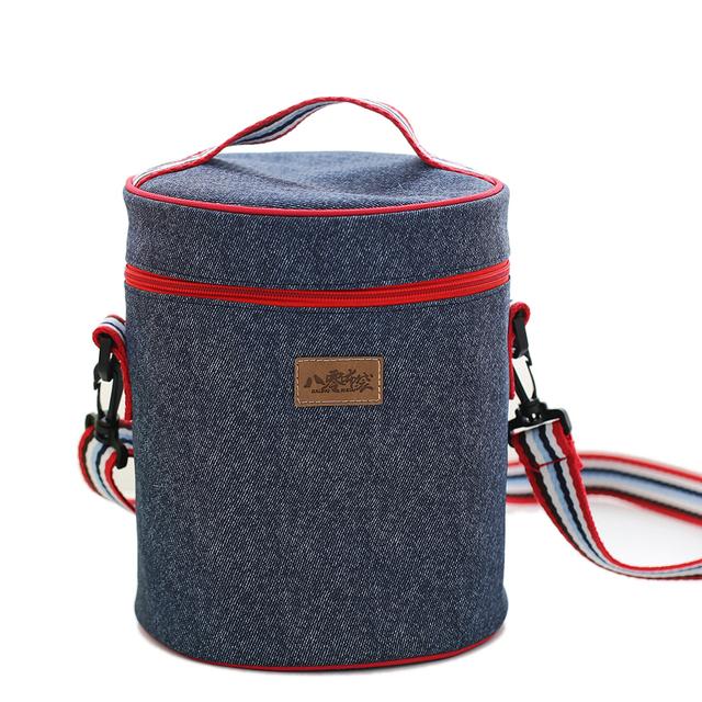 Bolsos Denim Circular loncheras termicas parágrafo almuerzo almuerzo mujer sacos de preservação do calor de isolamento barril recipiente especial