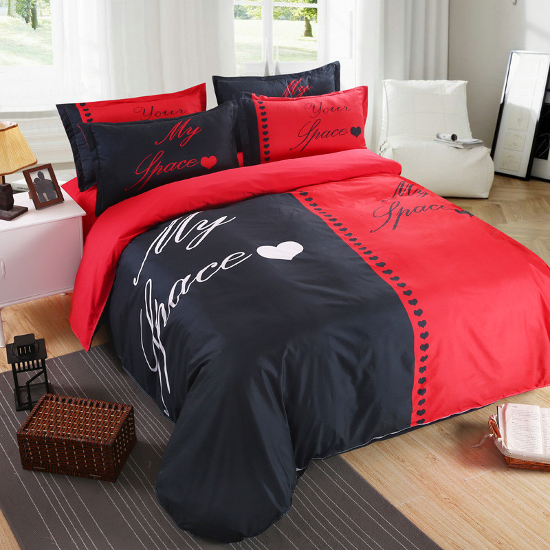 Home Textile Red Black Bedding Set S Duvet Cover Pillowcase White And Her Side His Queen King Lover In Sets From
