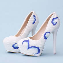 White Pearls Beaded Platform High Heels Women Wedding Shoes Chinese Style Round Toe Bridal Dress Shoes Evening Party Pumps