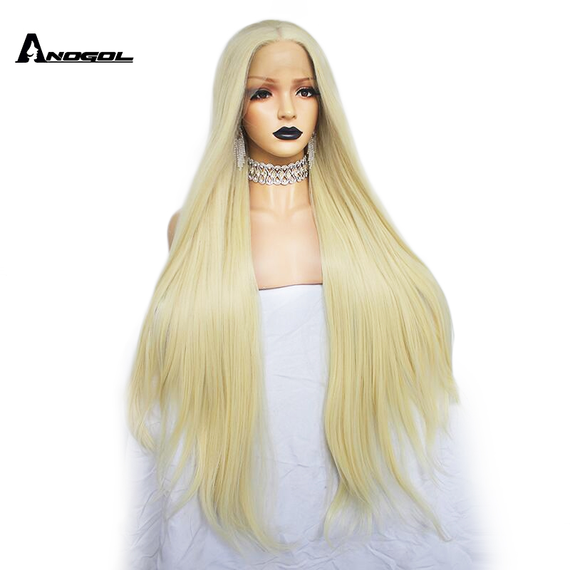 Anogol High Temperature Fiber Long Natural Wave Middle Part Glueless 613 Blonde Synthetic Lace Front Hair Wigs Women