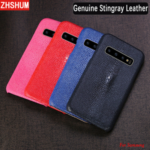 Image 2 - Handmade Genuine Stingray Leather Case For Samsung S10 Plus Lite S10 Note 9 8 S9 Luxury Skin Case Cover for Galaxy S8 Plus + E s