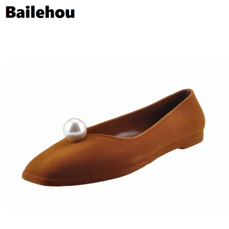 Bailehou Fashion Footwear Women Flat Shoes Flock Shallow Ballet Flats Square Toe Slip On Casual Shoes Pearl Flat Chaussure 2017 womens spring shoes casual flock pointed toe narrow band string bead ballet flats flat shoes cover heel women flats shoes