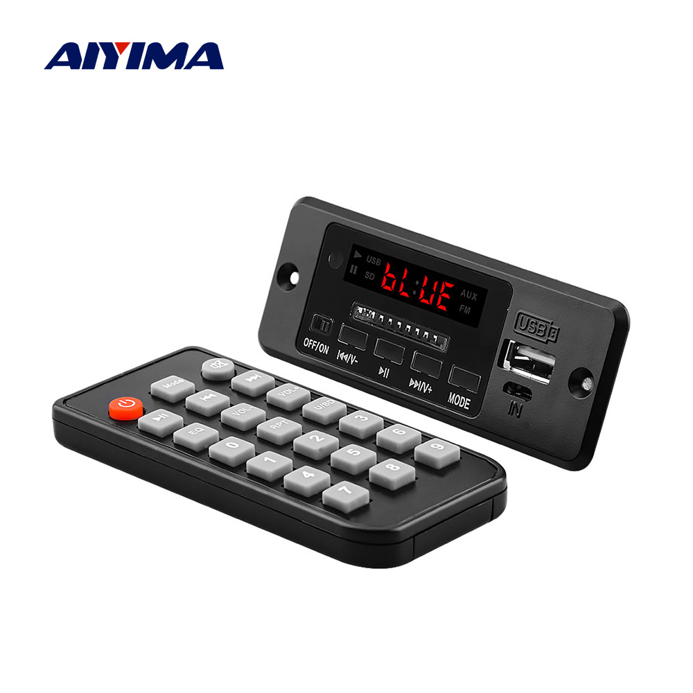 Aiyima 5 v bluetooth mp3 placa de decodificador de áudio com 3 w * 2 amplificador mp3 player aux fm chamada mãos-livres