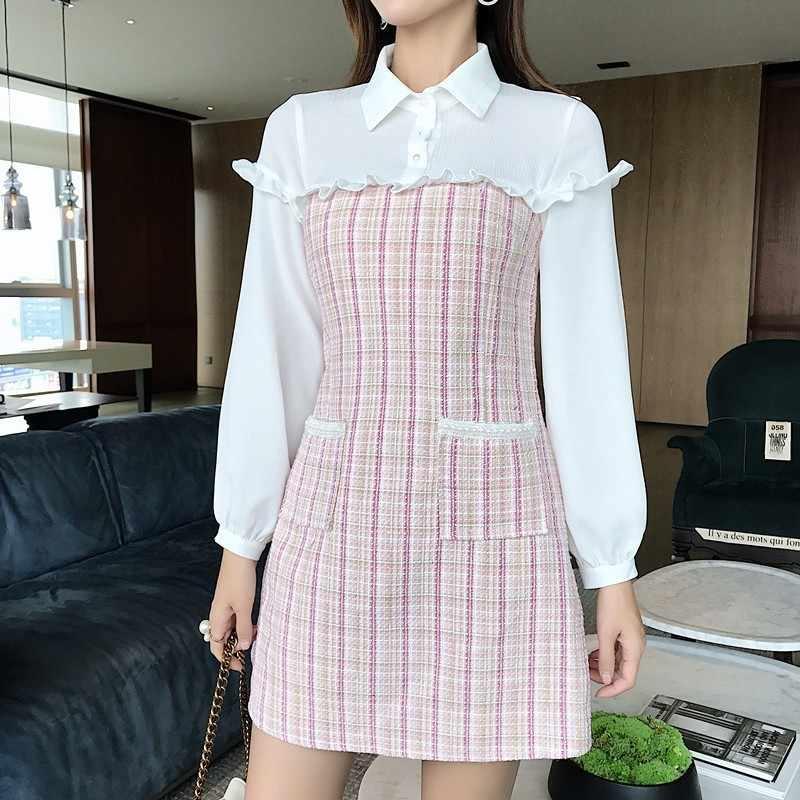 TWOTWINSTYLE лоскутное клетчатое шифоновое платье женские мини платья с длинными рукавами и рюшами Женская одежда Большие размеры 2019 Осенняя мода