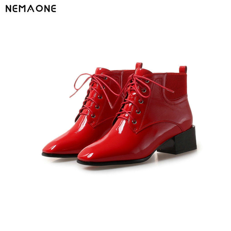 NEMAONE high square Heels women ankle Boots lace up casual women shoes autumn winter boots ladies Black Red beige large size 43 2018 new fashion ankle boots autumn winter women boots high heels boots lace up women shoes large size 34 43